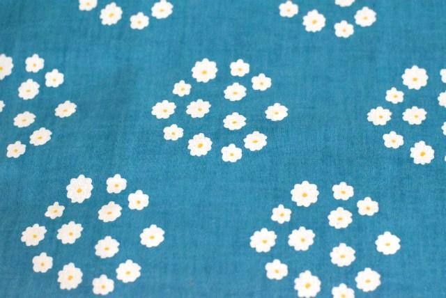 画像1: てぬぐい「花飾り」【孔雀青】