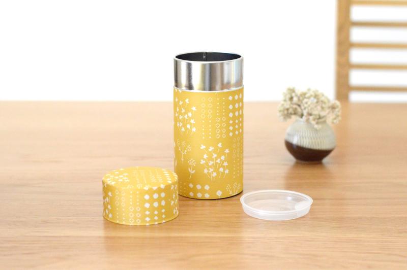 画像1: 茶筒『押し花』(200g茶葉用) (1)