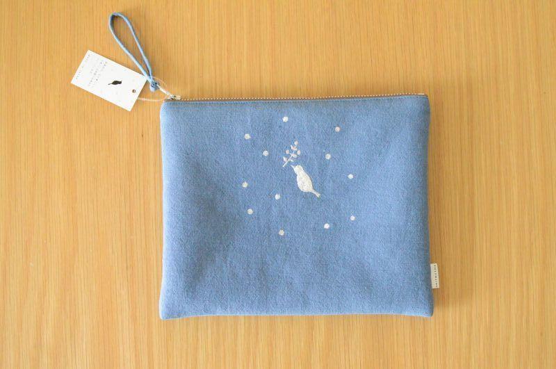 画像2: ひらつつみ(大)刺繍「雪鳥/ゆきどり」つゆ草色