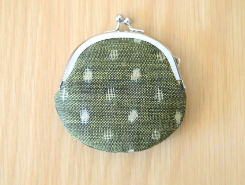 画像1: 〔星燈社×下川織物〕豆がまぐち「水玉-ちとせ緑」
